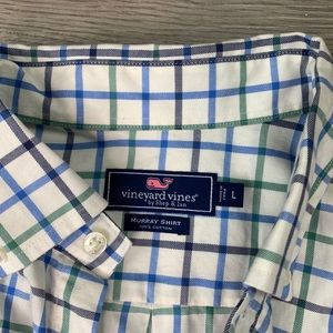 Vineyard Vines blue and green check button down